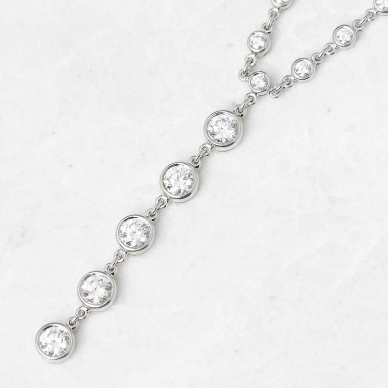 Tiffany & Co. 2.00 Carat Diamond Platinum Jazz T-Drop Necklace 3