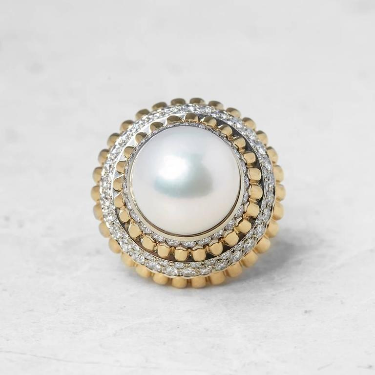 34 Grams Unique Diamond Set: Van Cleef And Arpels South Sea Pearl Diamond Cocktail Ring