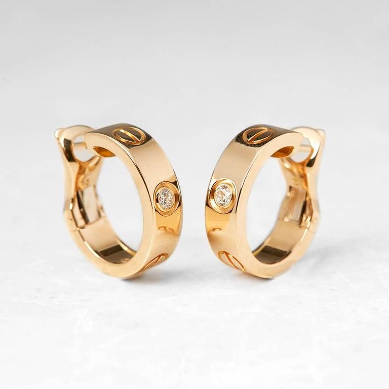 Serial Earrings: Cartier Diamond Yellow Gold Love Earrings At 1stdibs