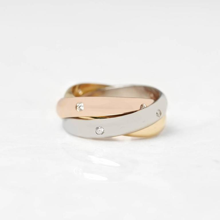 Cartier Diamond Yellow White Rose Gold Trinity Ring 4