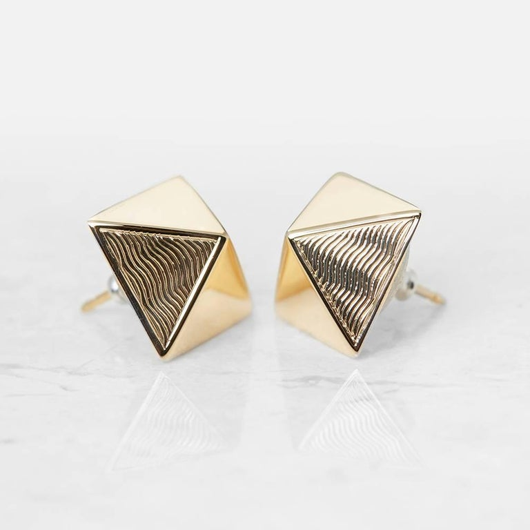 Xupes Code: COM1118 Brand: Van Cleef & Arpels Description:  18k Yellow Gold Pyramid Style Earrings Accompanied With: Xupes Presentation Box Gender: Ladies Earring Length: 1.3cm Earring Width: 1.3cm Earring Back: Friction Condition: 9 Material: