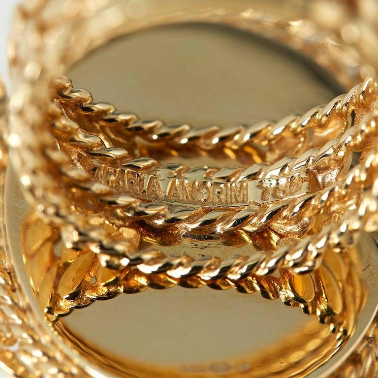 Carla Amorim 18 Karat Yellow Gold Cabochon Aquamarine Cocktail Ring For Sale 3