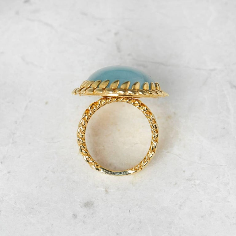 Carla Amorim 18 Karat Yellow Gold Cabochon Aquamarine Ring For Sale 1