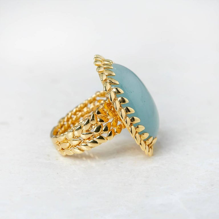 Women's Carla Amorim 18 Karat Yellow Gold Cabochon Aquamarine Ring For Sale