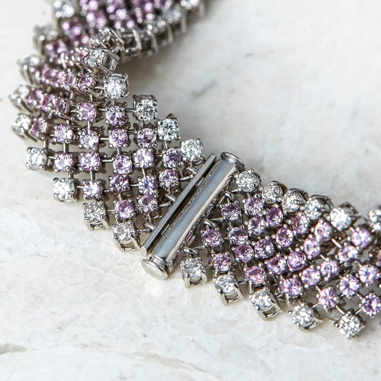 Asprey 18 Karat White Gold Pink Sapphire Diamond Bracelet In Excellent Condition For Sale In Bishop's Stortford, Hertfordshire