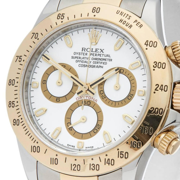 Rolex Yellow Gold Stainless Steel Daytona Chronograph Automatic Wristwatch, 2009 In Excellent Condition For Sale In Bishop's Stortford, Hertfordshire