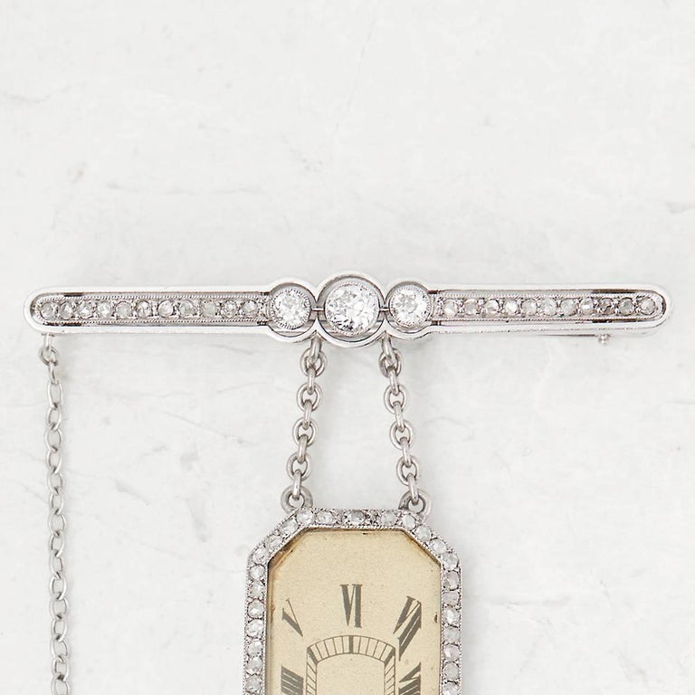 Round Cut Cartier Platinum Diamond 1912 Vintage Brooch Watch  For Sale