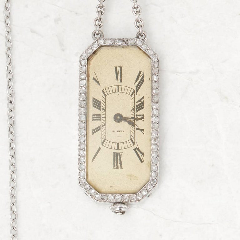 Cartier Platinum Diamond 1912 Vintage Brooch Watch  In Good Condition For Sale In Bishop's Stortford, Hertfordshire
