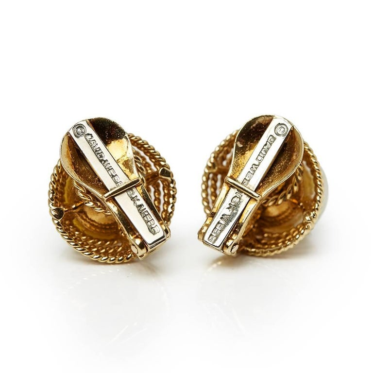 Women's David Webb Yellow Gold Pearl Earrings For Sale