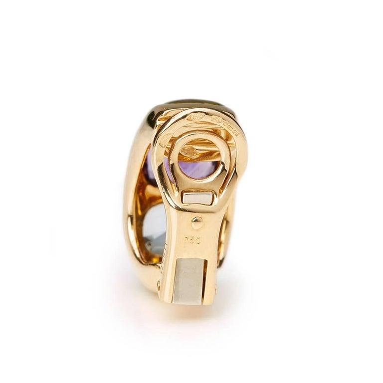 Chanel 18 Karat Yellow Gold Amethyst Peridot Clip-On Baroque Earrings  For Sale 4