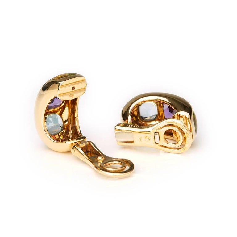 Chanel 18 Karat Yellow Gold Amethyst Peridot Clip-On Baroque Earrings  For Sale 1