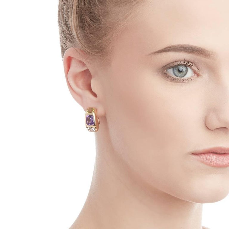 Chanel 18 Karat Yellow Gold Amethyst Peridot Clip-On Baroque Earrings  For Sale 6