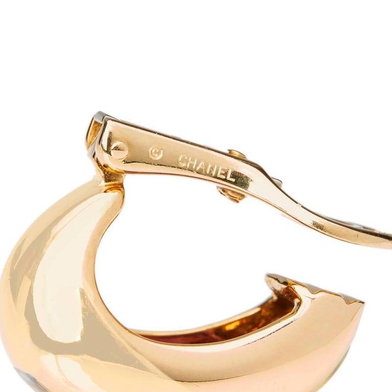 Chanel 18 Karat Yellow Gold Amethyst Peridot Clip-On Baroque Earrings  For Sale 2