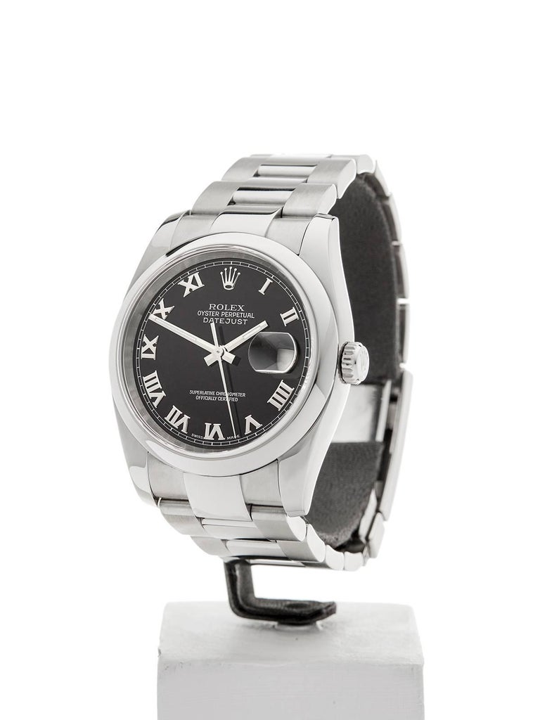 REFW3599 MODEL NUMBER116200 SERIAL NUMBERD48**** CONDITION9 - Excellent condition GENDERUnisex AGE1st August 2006 CASE DIAMETER36 mm CASE SIZE36mm BOX & PAPERSBox, Manuals & Guarantee MOVEMENTAutomatic CASEStainless Steel DIALBlack