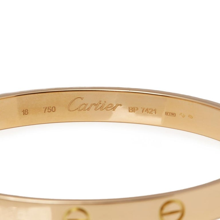 Cartier 18 Karat Yellow Gold Love Bangle For Sale 1