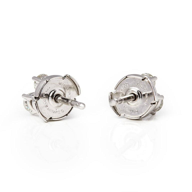 Tiffany & Co. Platinum Diamond Aria Stud Earrings In Excellent Condition For Sale In Bishop's Stortford, Hertfordshire
