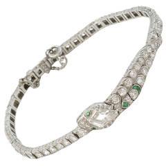 Diamond Emerald Platinum Snake Bracelet