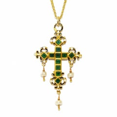 Antique 17th Century Spanish Green Glass Pearl Enamelled Cross
