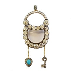Antique Georgian Romantic Diamond Padlock Pendant Brooch