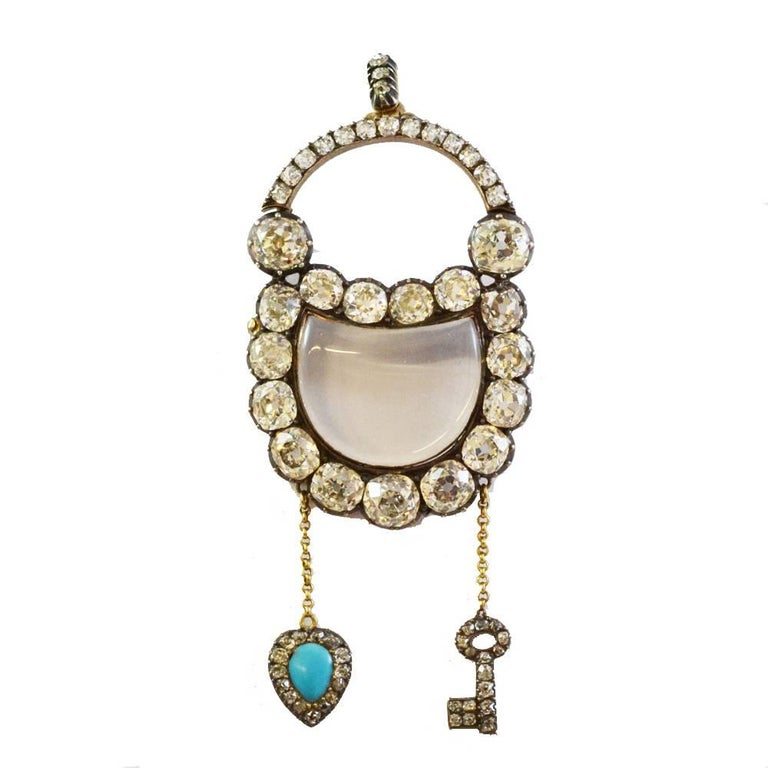 Antique Georgian Romantic Diamond Padlock Pendant Brooch