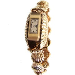 Yellow Gold Scallop Shell Wristwatch, circa 1940