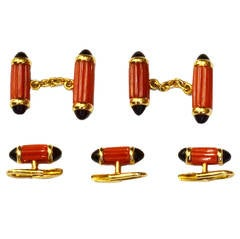Cartier Coral  Onyx Gold Dress Set