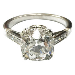 Old Cushion Cut Diamond Platinum Solitaire Ring