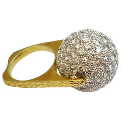 Diamond Gold Spinning Ball Ring