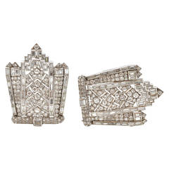 Art Deco Diamond Platinum Double Clips