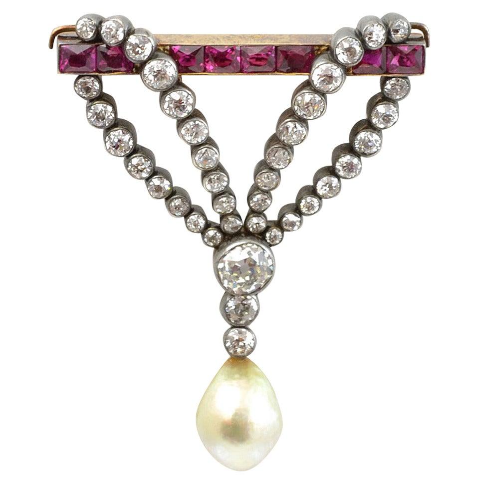Victorian Pearl Ruby Diamond Drop Brooch