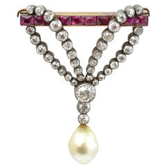 Victorian Pearl Ruby Diamond Drop Brooch