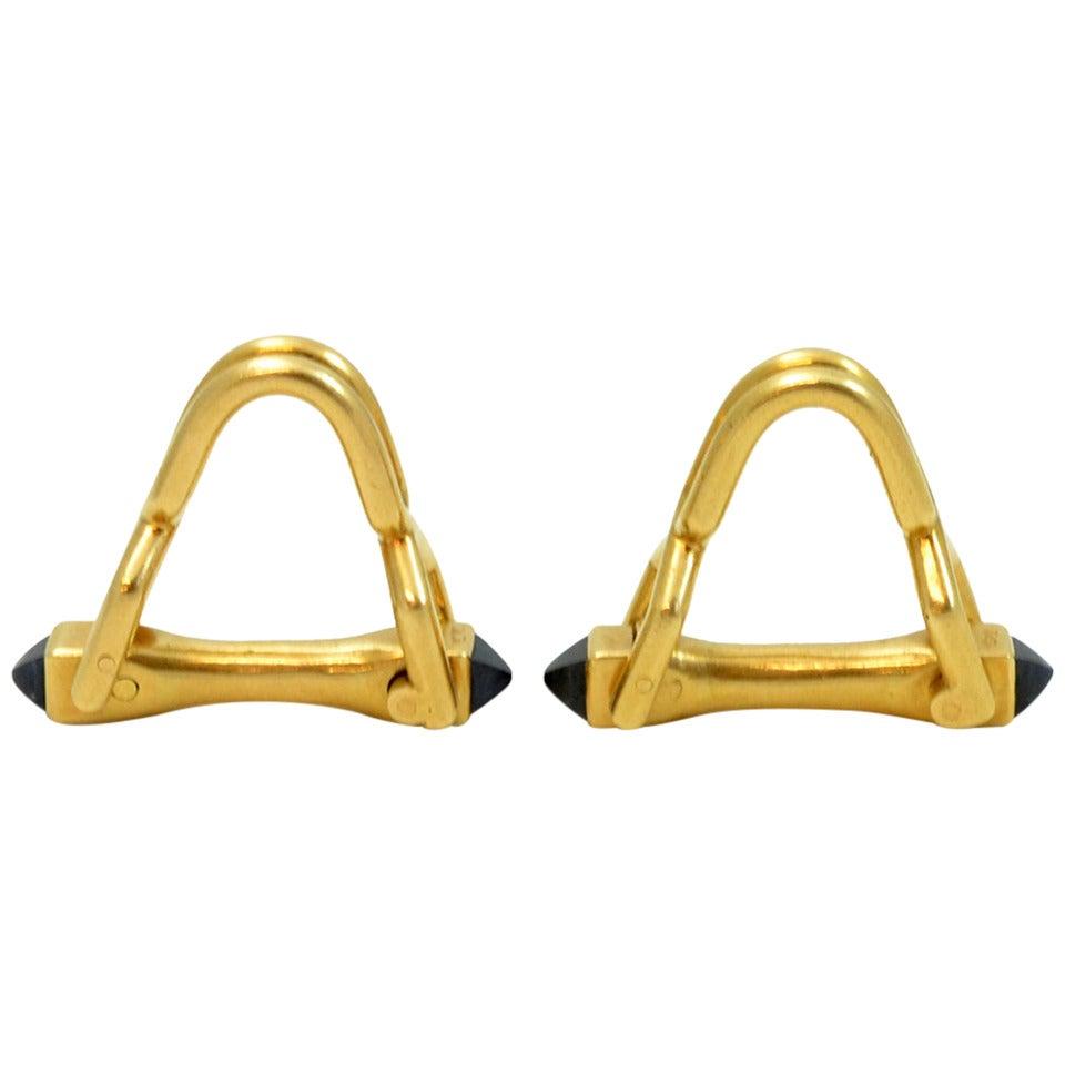 Cartier Sapphire Gold Stirrup Cufflinks