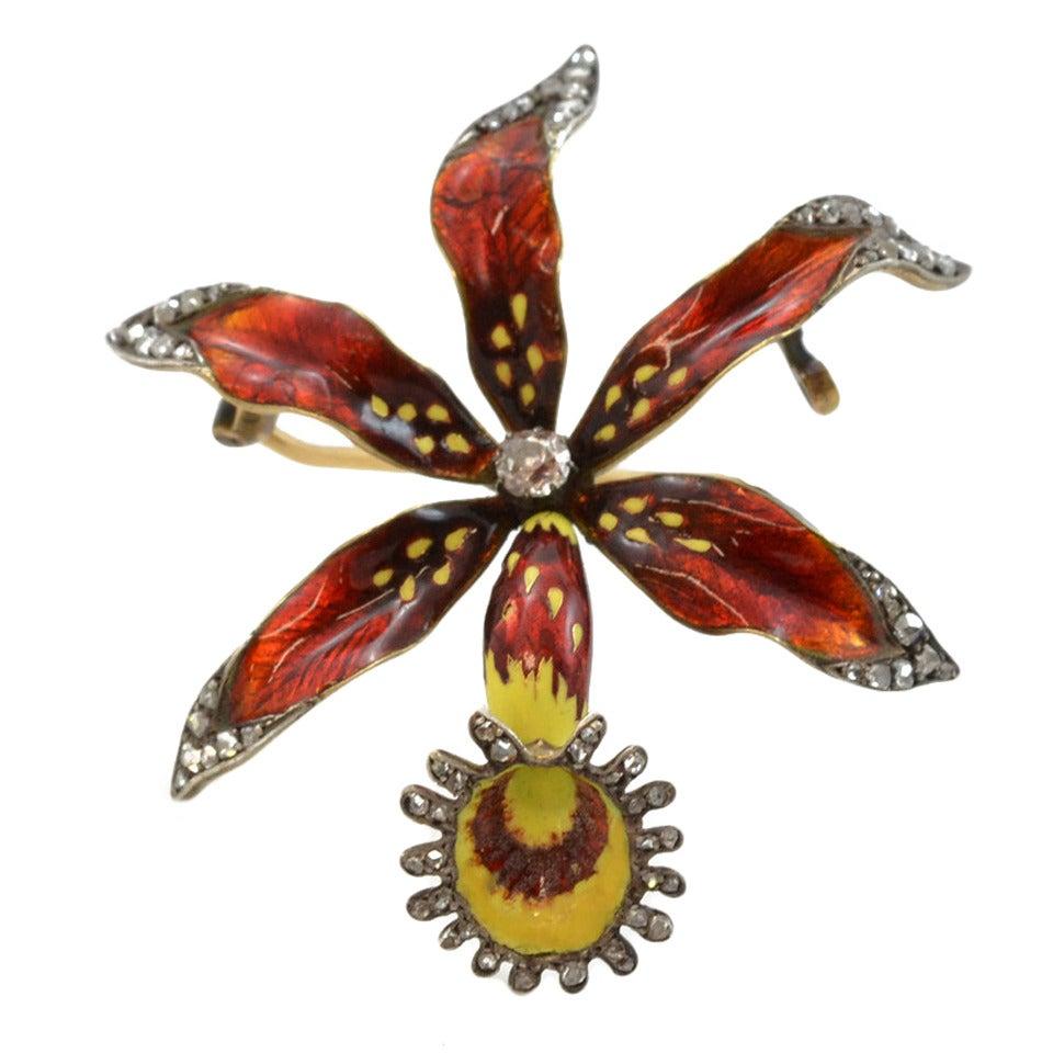 Victorian Enamel Diamond Gold Orchid Brooch