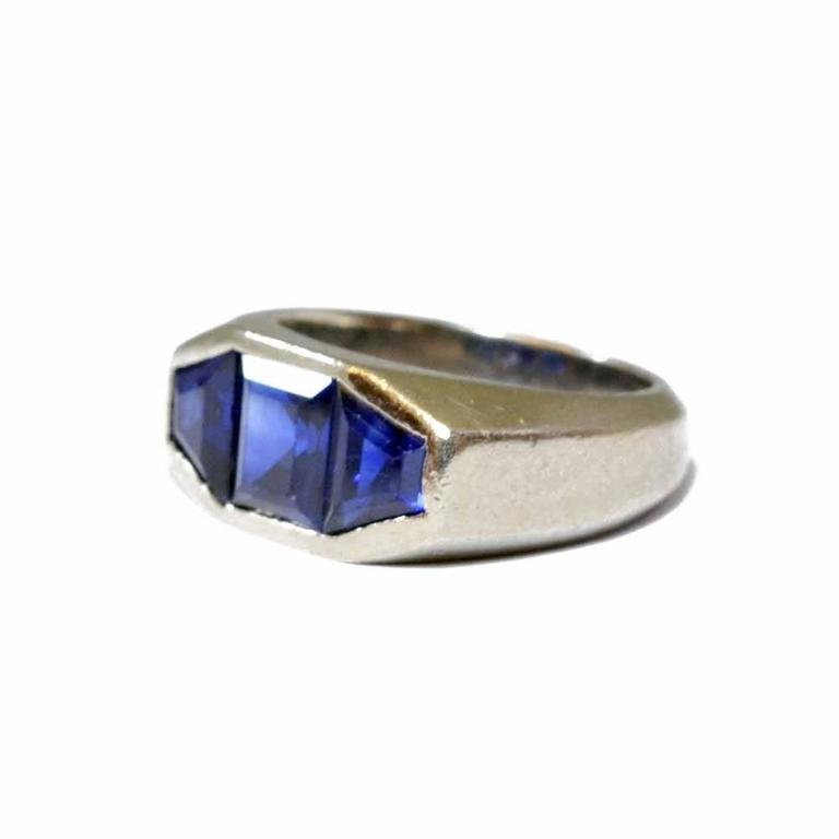sapphire and platinum dress ring at 1stdibs