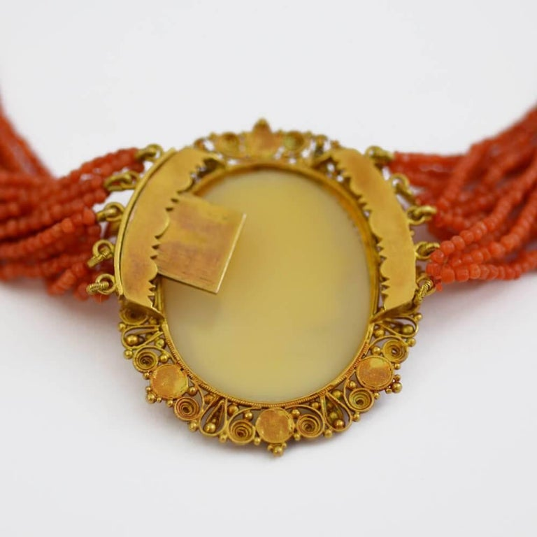 Antique Italian Coral Gold Cameo Suite 3