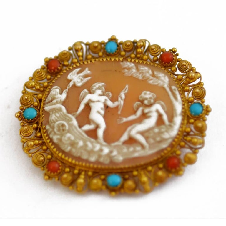 Antique Italian Coral Gold Cameo Suite 7