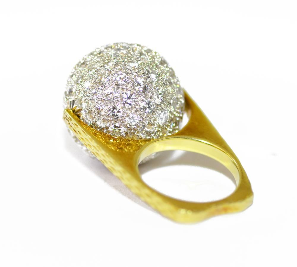 Diamond Gold Spinning Ball Ring For Sale at 1stdibs