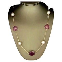 """South Sea Pearl Ruby Necklace 14k Gold 8.5 mm 35.5"""" Certified"""