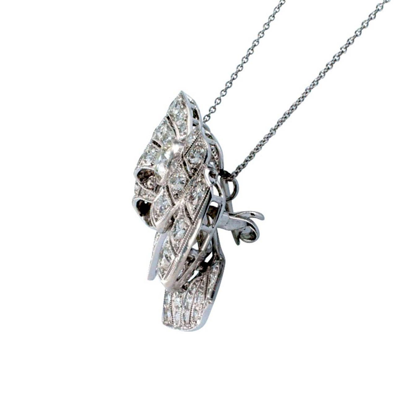 Art Deco Diamond Platinum Bow Brooch Pendant 4