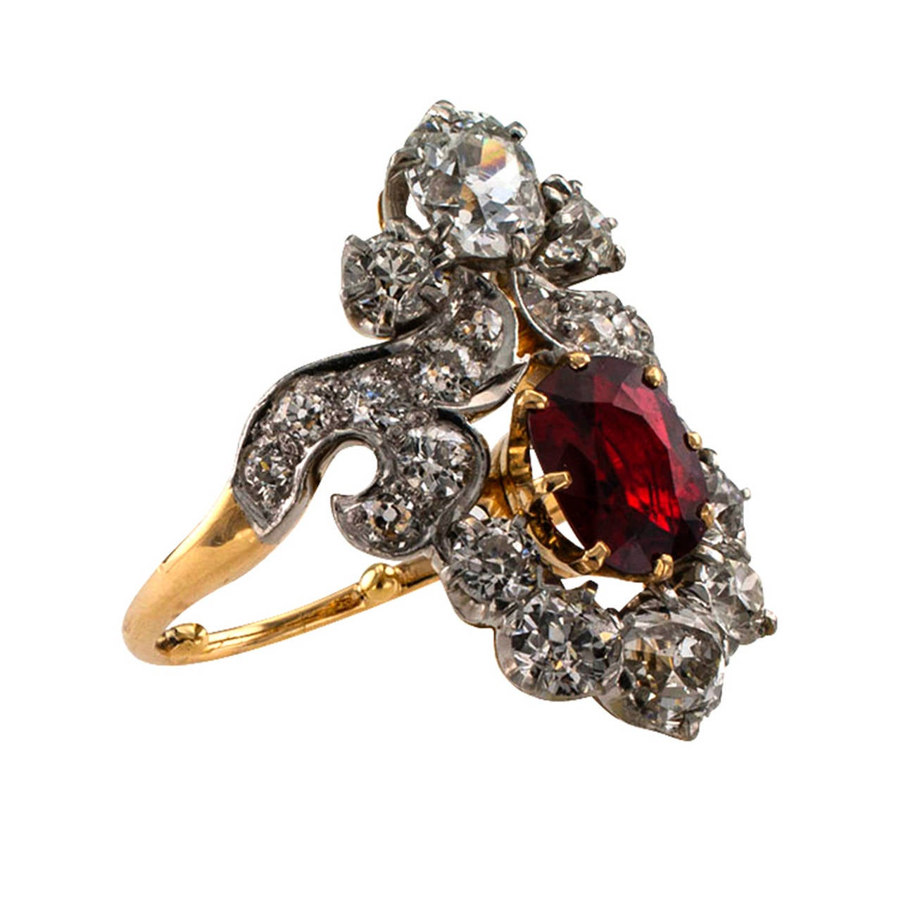 1.50 Carats Red Spinel and Diamond Edwardian Ring    Spinel is a gemstone of rare beauty and according to GIA, red Spinel is the most desirable color, highly sought after by connoisseurs and collectors.  It is also rich in metaphysical attributes