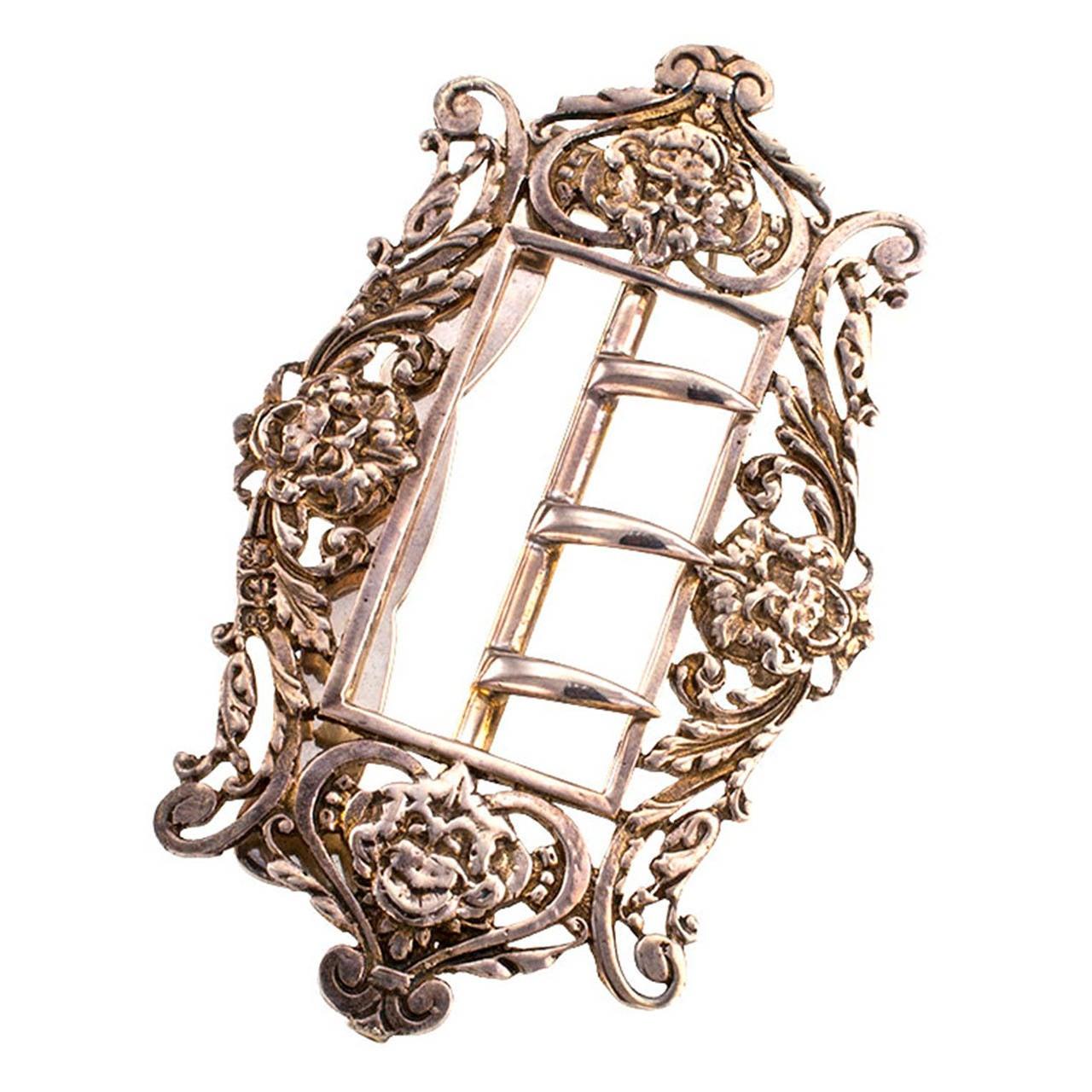 William Comyns Art Nouveau Sterling Silver Belt Buckle