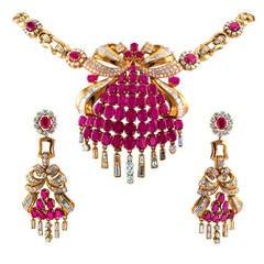 Ruby Diamond Gold Necklace  Earrings Set