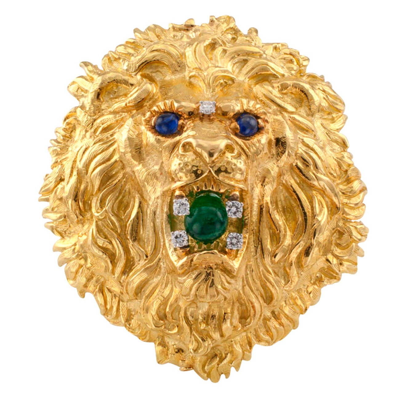 David webb huge emerald sapphire diamond gold lion head brooch david webb huge emerald sapphire diamond gold lion head brooch pendant for sale aloadofball Choice Image
