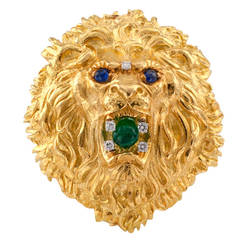 David Webb Huge Emerald Sapphire Diamond Gold Lion Head Brooch Pendant