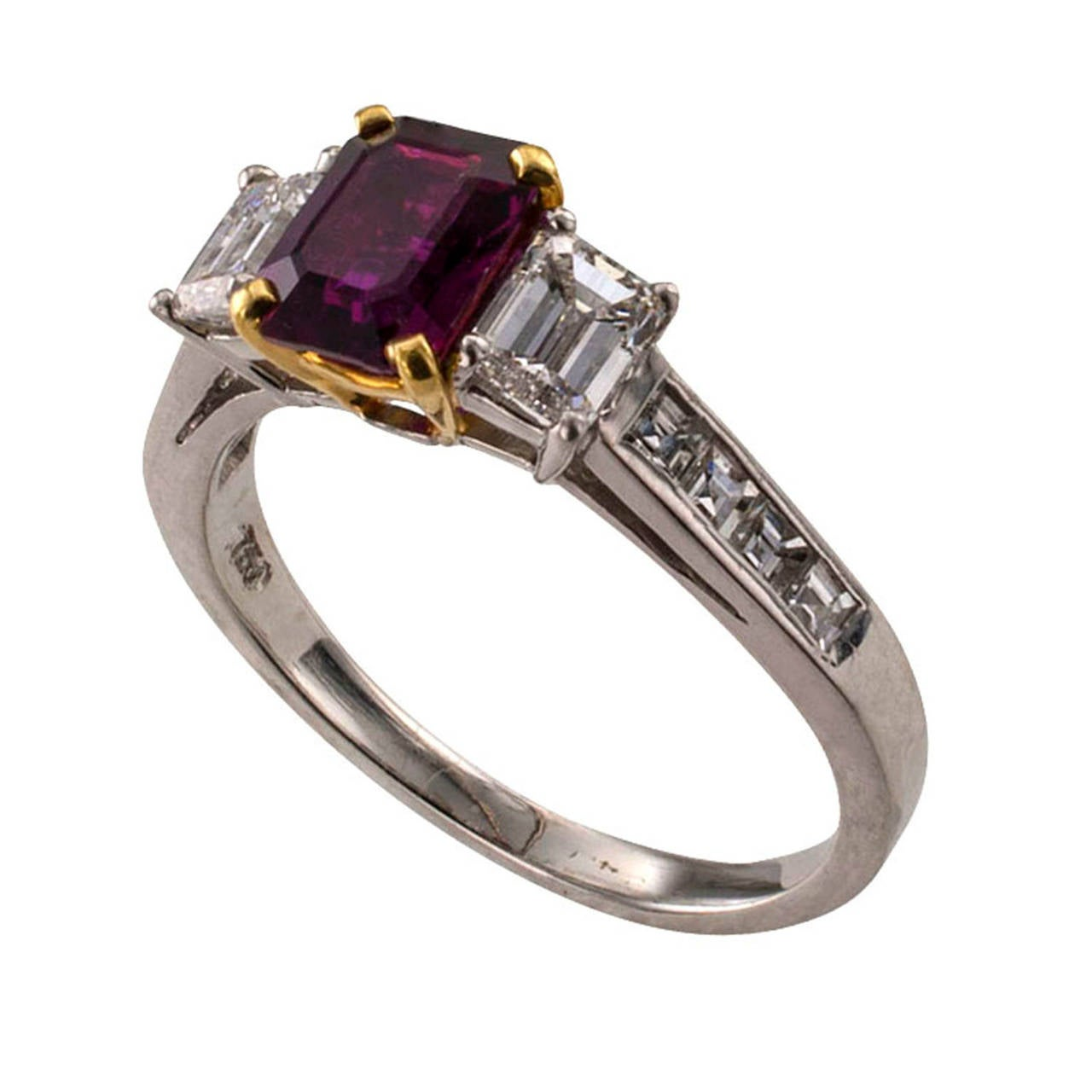 Women's Ruby Diamond Gold Platinum Contemporary Ring