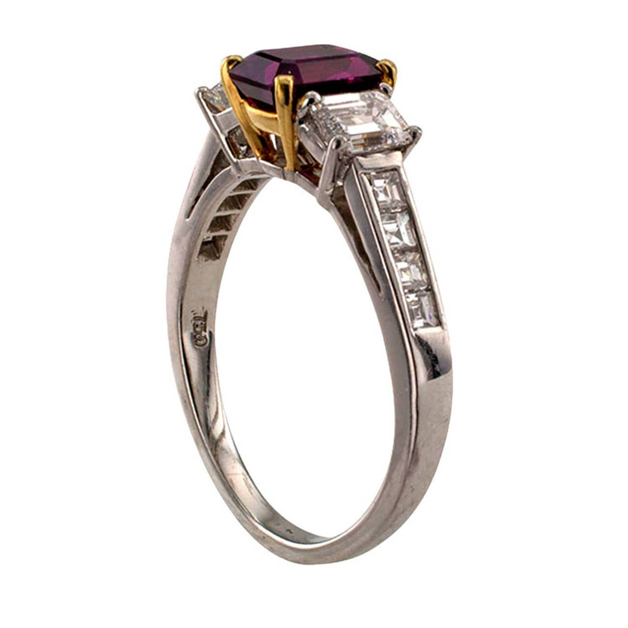 Ruby Diamond Gold Platinum Contemporary Ring 1