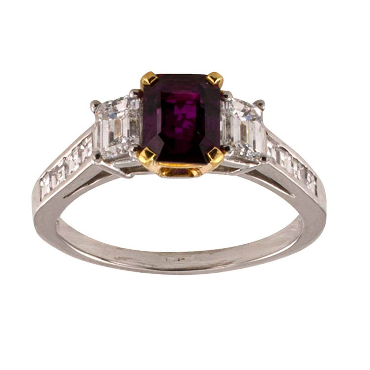 1.25 Carats Ruby and Diamond Ring