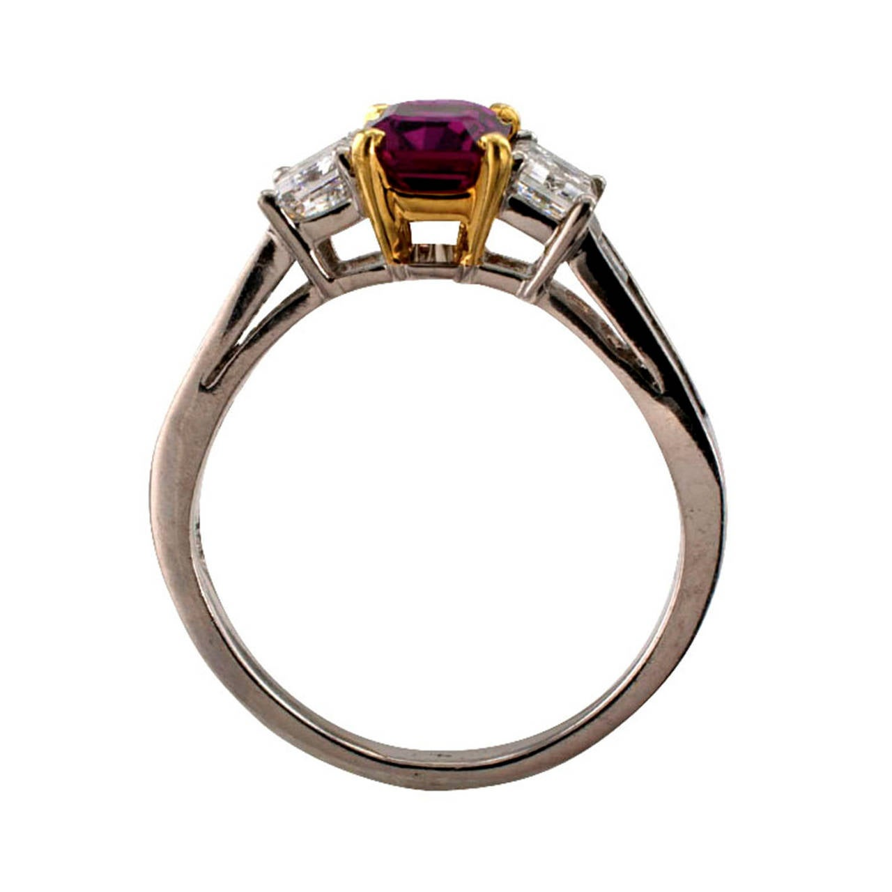 Ruby Diamond Gold Platinum Contemporary Ring In Excellent Condition In Los Angeles, CA