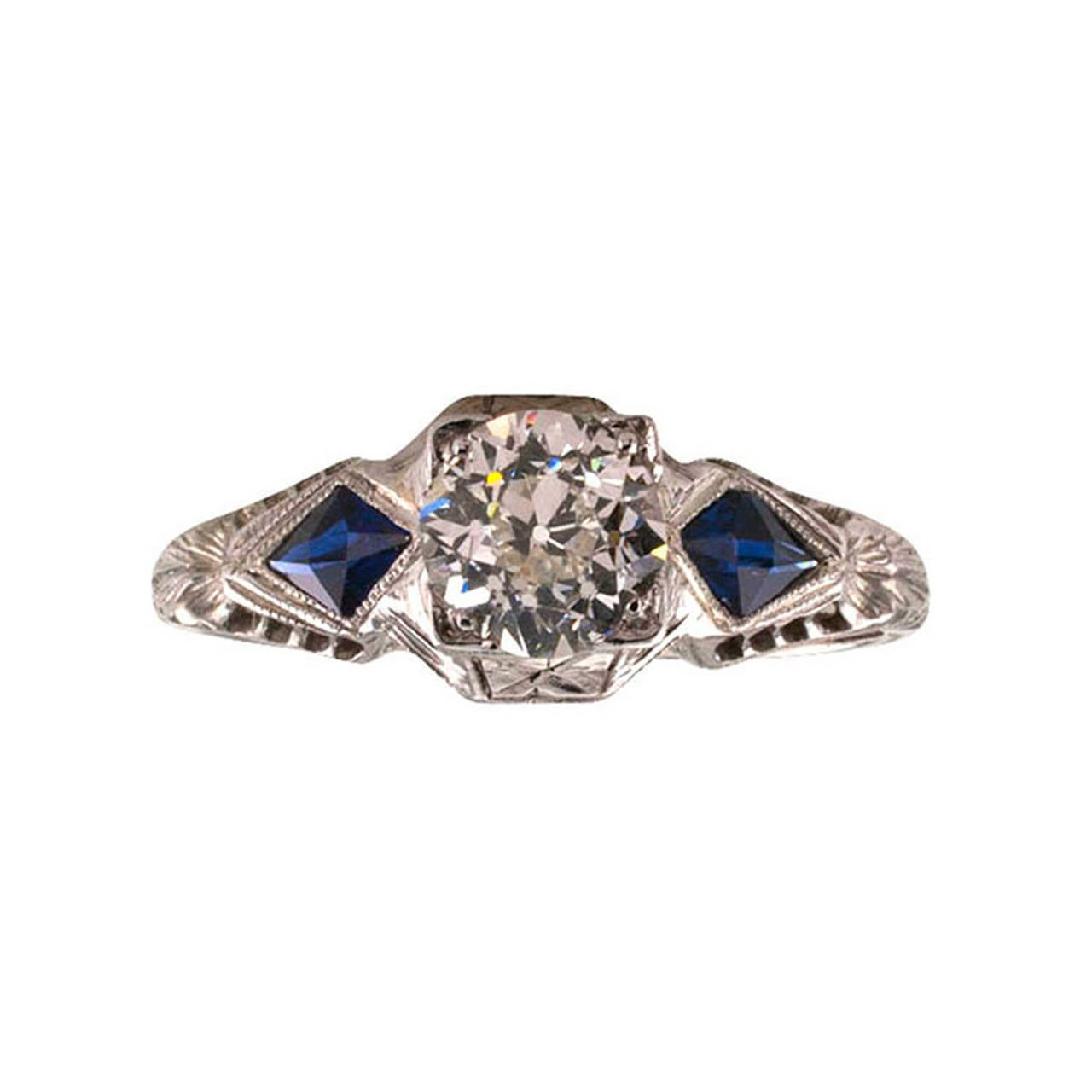 deco and sapphire engagement rings deco sapphire engagement ring at 1stdibs