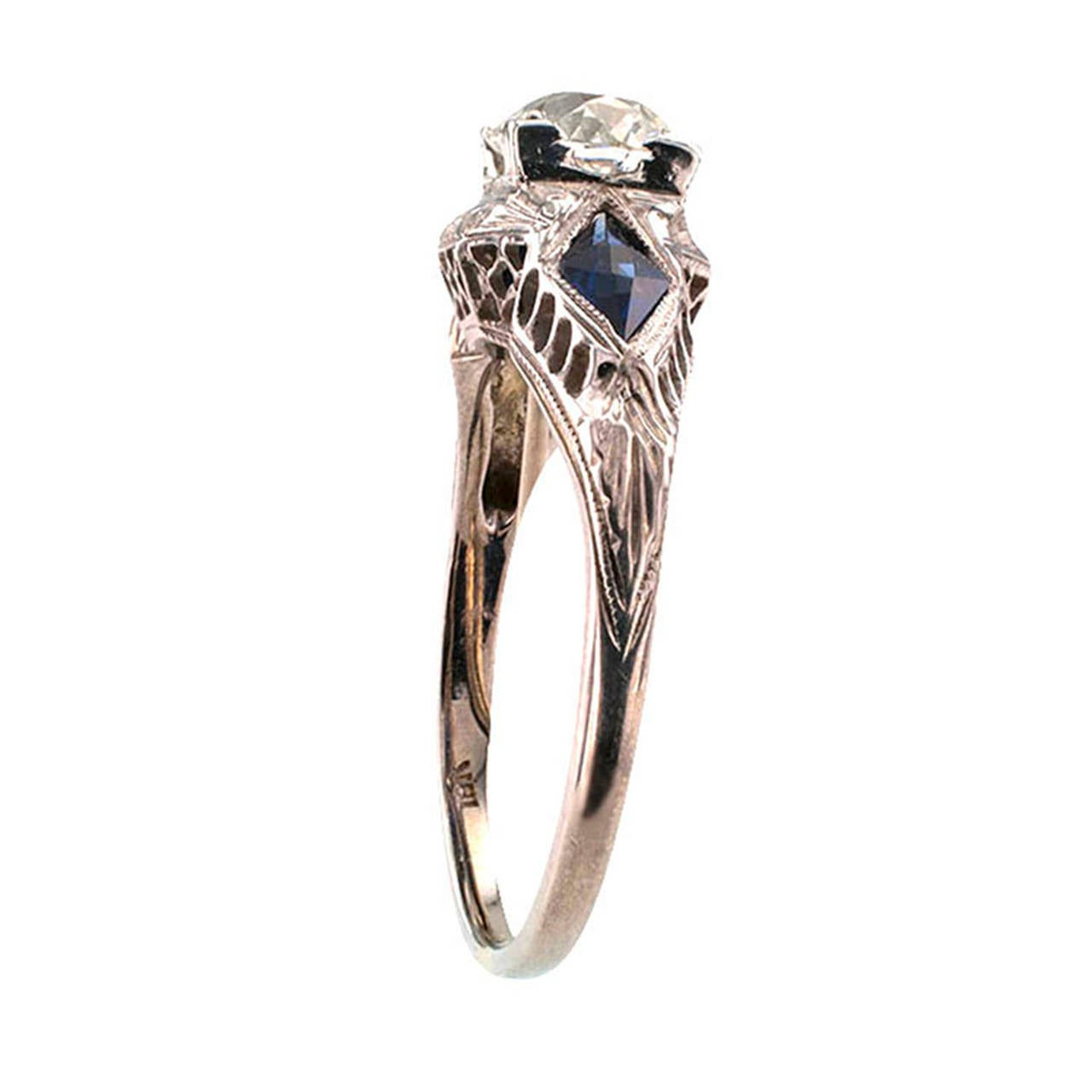 deco sapphire engagement ring at 1stdibs